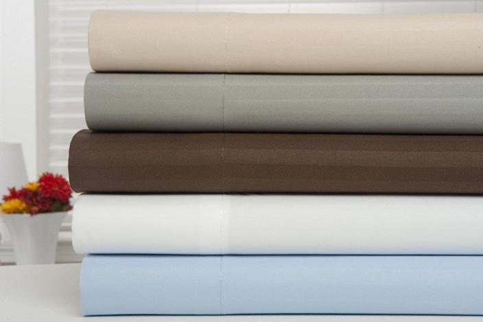"""<a href=""""https://fave.co/2J00Z29"""" rel=""""nofollow noopener"""" target=""""_blank"""" data-ylk=""""slk:Bamboo Egyptian Comfort Extra Soft Striped Bed Sheets"""" class=""""link rapid-noclick-resp"""">Bamboo Egyptian Comfort Extra Soft Striped Bed Sheets</a> (Photo: Walmart)"""
