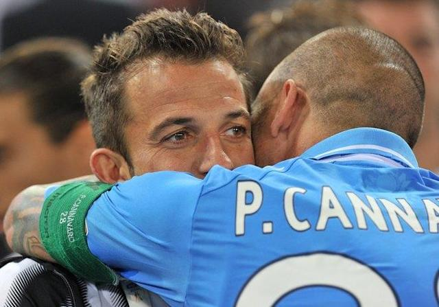 Napoli's captain Paolo Cannavaro (R) hugs Juventus' forward Alessandro Del Piero after the Cup of Italy Juventus vs Napoli at the Olympic Stadium in Rome on May 20, 2012. Napoli defeated Juventus by 2-0. AFP PHOTO / GABRIEL BOUYSGABRIEL BOUYS/AFP/GettyImages
