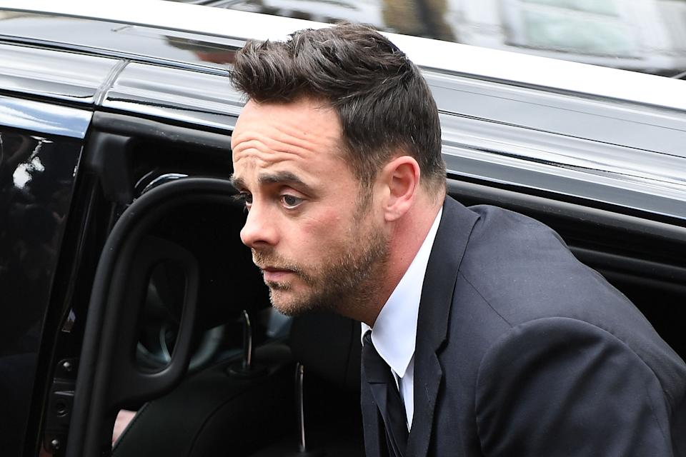 LONDON, ENGLAND - APRIL 16:  Ant McPartlin arrives at Wimbledon Magistrates Court on April 16, 2018 in London, England. Anthony McPartlin, one half of the television presenting duo Ant and Dec, appears in court charged with drink-driving following a three car collision on March 18 2018.  (Photo by Chris J Ratcliffe/Getty Images,)