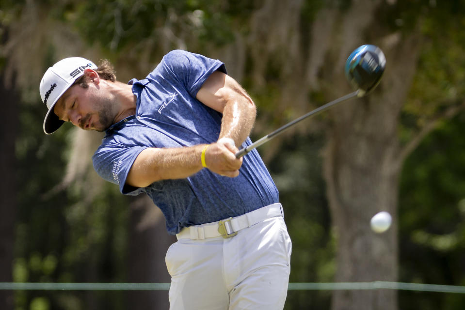 Doc Redman tees off on the 17th hole during the second round of the Palmetto Championship golf tournament in Ridgeland, S.C., Friday, June 11, 2021. (AP Photo/Stephen B. Morton)