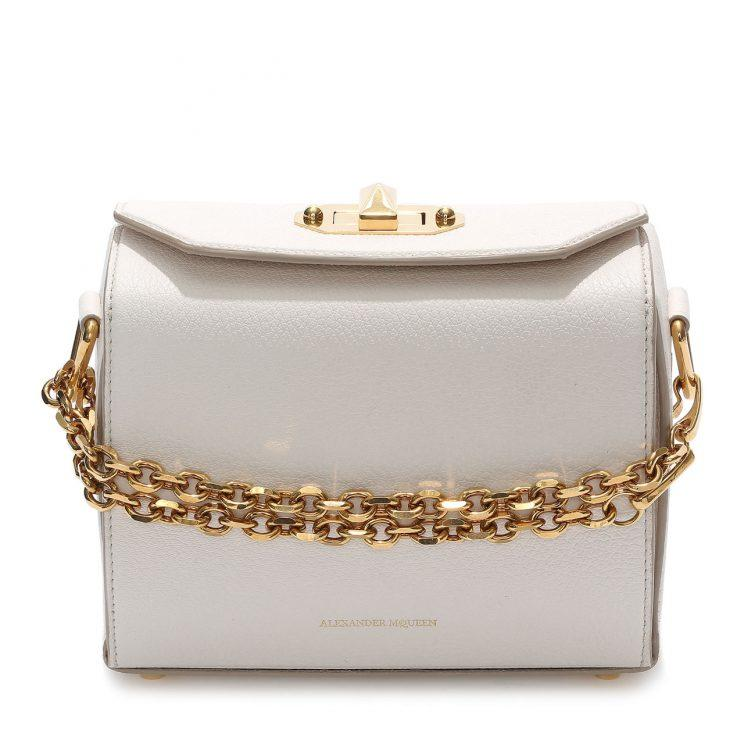 Alexander McQueen's Box Bag in white leather.