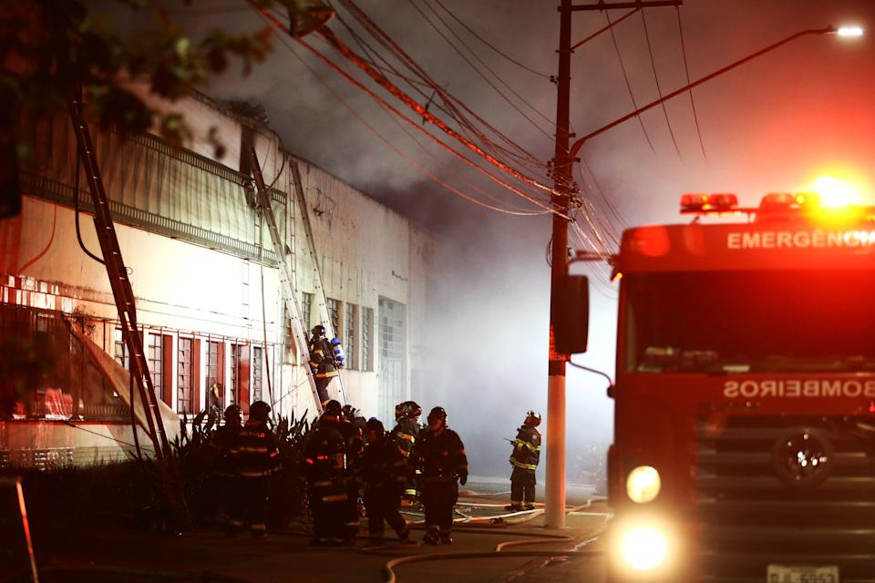 Firefighters work to put out fire at the Cinemateca Brasileira, an institution responsible for preserving audiovisual production, in Sao Paulo, Brazil July 29, 2021. REUTERS/Carla Carniel