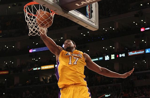 LOS ANGELES, CA - MAY 19: Andrew Bynum #17 of the Los Angeles Lakers dunks the ball in the second quarter while taking on the Oklahoma City Thunder in Game Four of the Western Conference Semifinals in the 2012 NBA Playoffs on May 19 at Staples Center in Los Angeles, California. NOTE TO USER: User expressly acknowledges and agrees that, by downloading and or using this photograph, User is consenting to the terms and conditions of the Getty Images License Agreement. (Photo by Stephen Dunn/Getty Images)