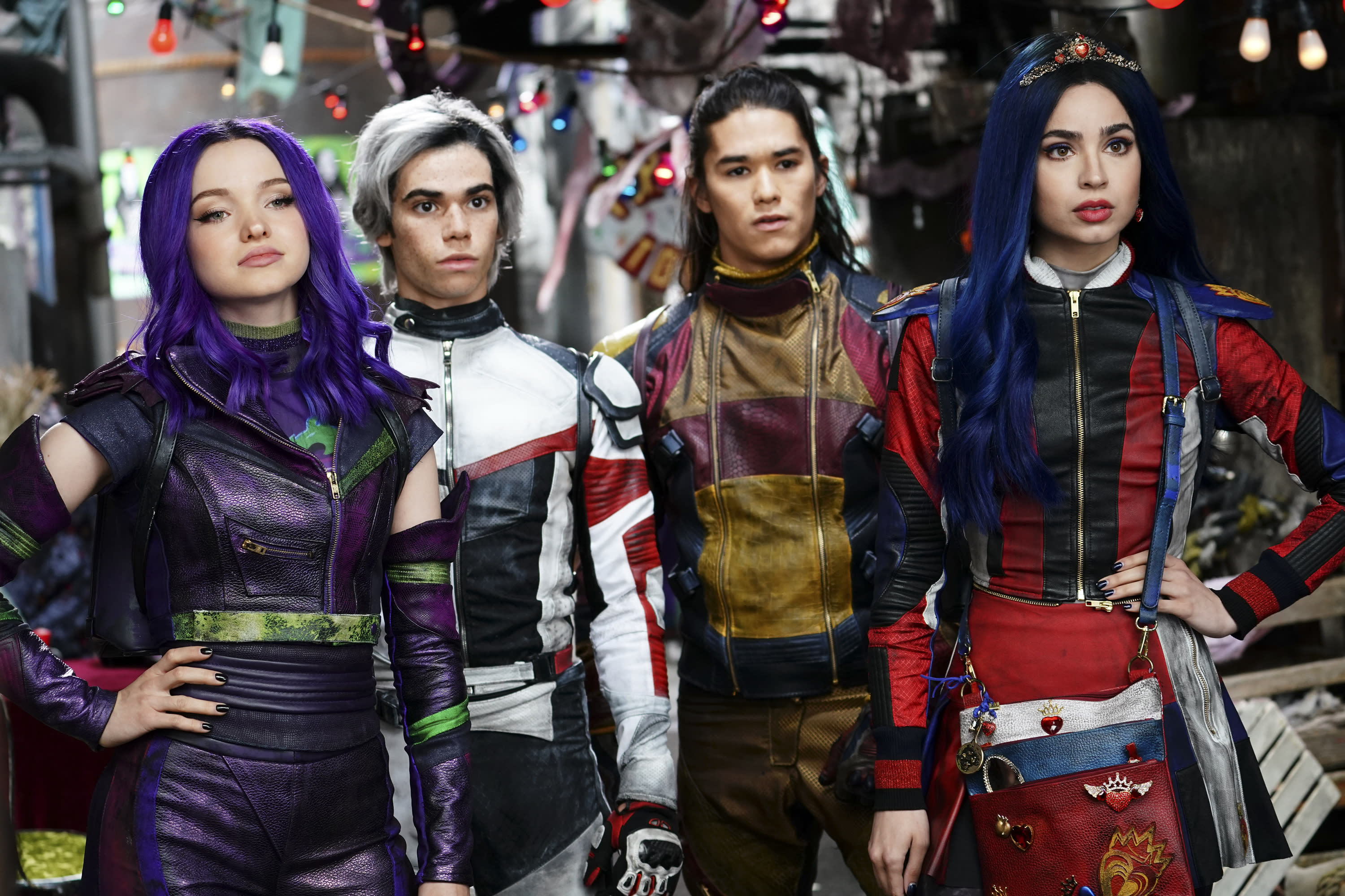 Mal and the villain kids must save Auradon from an evil threat. L-R: DOVE CAMERON, CAMERON BOYCE, BOOBOO STEWART, SOFIA ARSON (Disney Channel/David Bukach)