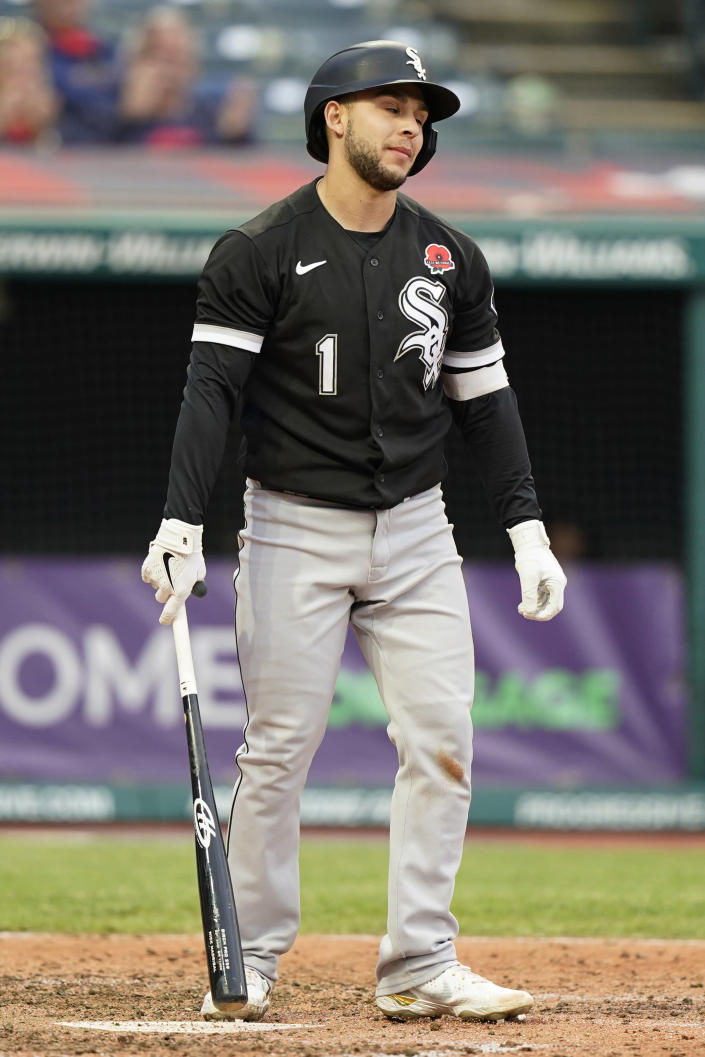 Chicago White Sox's Nick Madrigal reacts after striking out in the fifth inning of the second baseball game of a doubleheader against the Cleveland Indians, Monday, May 31, 2021, in Cleveland. The Indians won 3-1. (AP Photo/Tony Dejak)