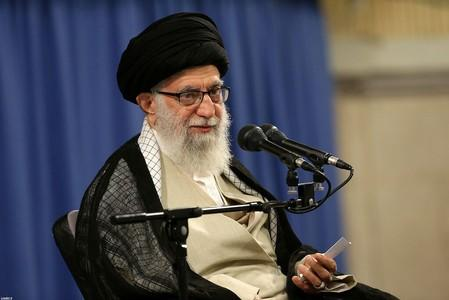 Iran's Supreme Leader Ayatollah Ali Khamenei speaks during ceremony attended by Iranian clerics in Tehran