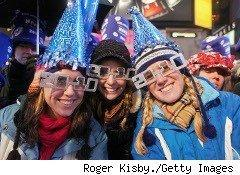 People celebrating the New Year in Times Square
