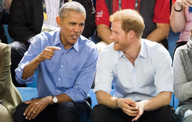 Prince Harry and Mr Obama were seen cheering on the players, clapping away and even posing for some photos with fans. Source: Getty