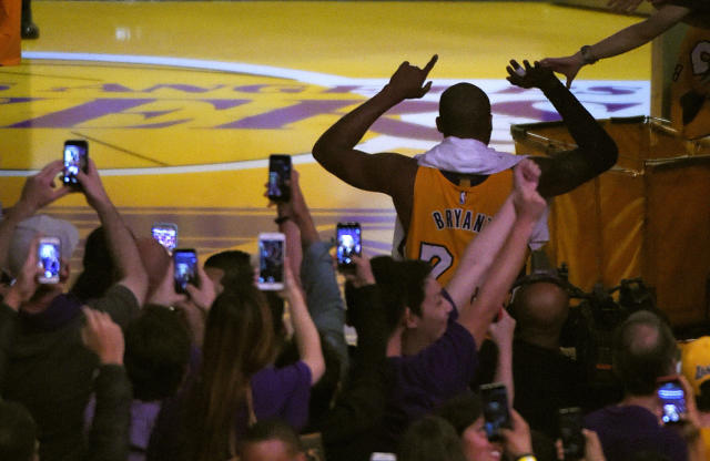 Fans can still see Kobe Bryant's number retirement, but for a hefty price. (AP Photo/Mark J. Terrill
