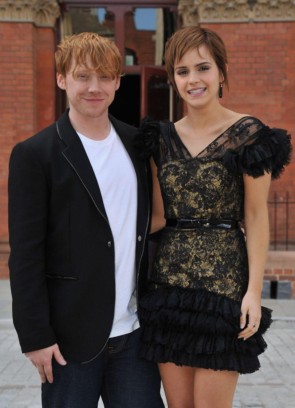 "<p>Seeing the romance between Hermione Granger and Ron Weasley blossom on screen was a moment anticipated by <em>Harry Potter </em>maniacs ever since things started heating up between the two on page. Emma Watson, on the other hand, was so eager to get the awaited scene over with that she ended up ""pouncing"" on Rupert Grint, according to an interview with <a href=""http://www.mtv.com/news/1615730/harry-potter-star-emma-watson-on-awkward-kiss-with-rupert-grint/"" rel=""nofollow noopener"" target=""_blank"" data-ylk=""slk:MTV News"" class=""link rapid-noclick-resp"">MTV News</a>.</p>"