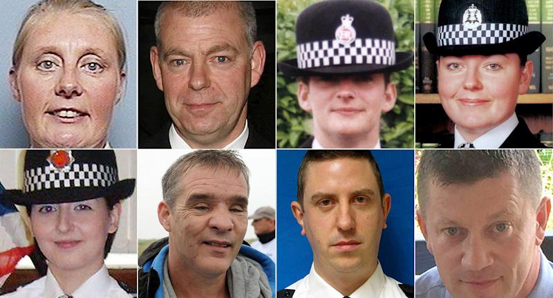 Killed on duty: (Top row l-r): Pc Sharon Beshenivsky, Pc Richard Gray, Pc Alison Armitage, Kirsty Nelis, (bottom row) Pc Nicola Hughes, Pc David Rathband, Pc David Phillips and Pc Keith Palmer are among the police officers who've lost their lives on the front line. (PA)