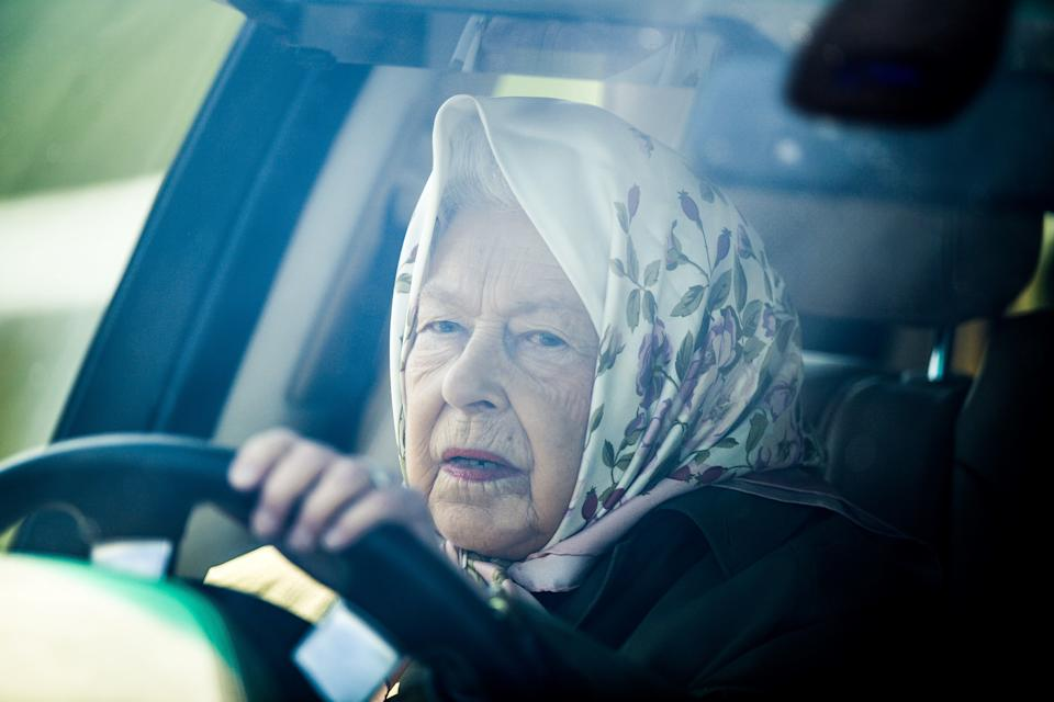 Britain's Queen Elizabeth II drives her Range Rover car as she arrives to attend the annual Royal Windsor Horse Show in Windsor, west of London, on May 10, 2019. - The horse show is the largest outdoor equestrian show in the UK, started originally in 1943 to help raise funds for the war effort, and has continued to run every year since, and is the only show in the UK to host international competitions in Showjumping, Dressage, Driving and Endurance. (Photo by Daniel LEAL-OLIVAS / AFP) (Photo by DANIEL LEAL-OLIVAS/AFP via Getty Images)