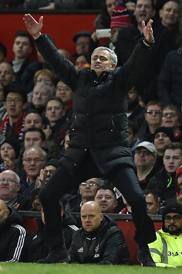 Manchester United manager Jose Mourinho gestures on the touchline during the English Premier League match against Tottenham Hotspur at Old Trafford on December 11, 2016 (AFP Photo/OLI SCARFF)
