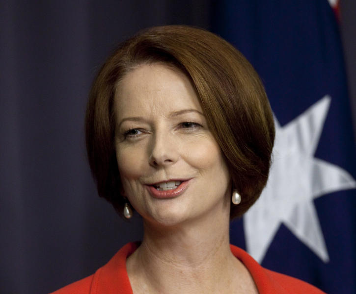 FILE - In this Monday, Feb. 27, 2012 file photo, Australian Prime Minister Julia Gillard holds a press conference after winning a leadership challenge in Canberra, Australia. Speculation is intensifying that Gillard will soon face a leadership challenge in the face of opinion polls that suggest her government is headed for a crushing defeat at elections this year. Center-left Labor Party government lawmakers on Wednesday, March 29, 2013 publically stood by their beleaguered leader. But The Australian Financial Review newspaper reported three unnamed senior Gillard backers saying support among government ranks for her predecessor Kevin Rudd was growing. (AP Photo/Andrew Taylor, File)