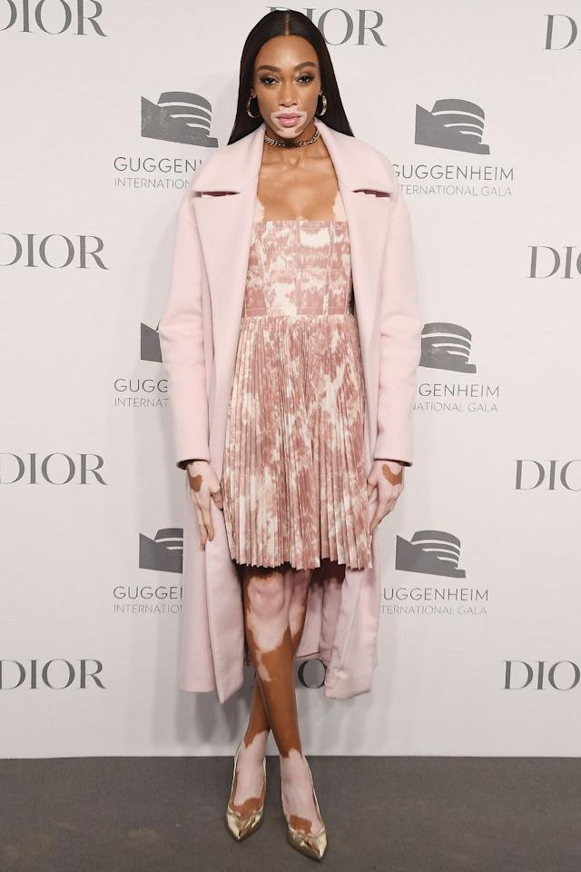 <p><strong>14 November </strong>Winnie Harlow in a pastel pink ensemble and Nicholas Kirkwood pumps at a Dior party in New York.<strong></strong></p>