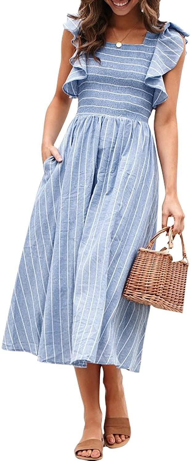 <p>The ruffles on this <span>Miessial Striped Linen Long Dress</span> ($24-$31) are so fun.</p>