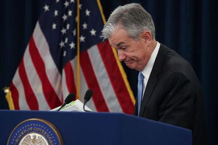 FILE PHOTO: U.S. Federal Reserve Chairman Jerome Powell holds a news conference following the two-day Federal Open Market Committee (FOMC) policy meeting in Washington, U.S., March 20, 2019. REUTERS/Jonathan Ernst