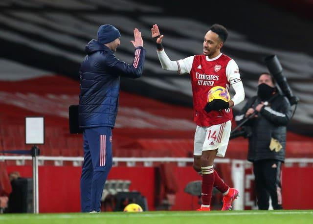 Aubameyang took home the match ball after his treble