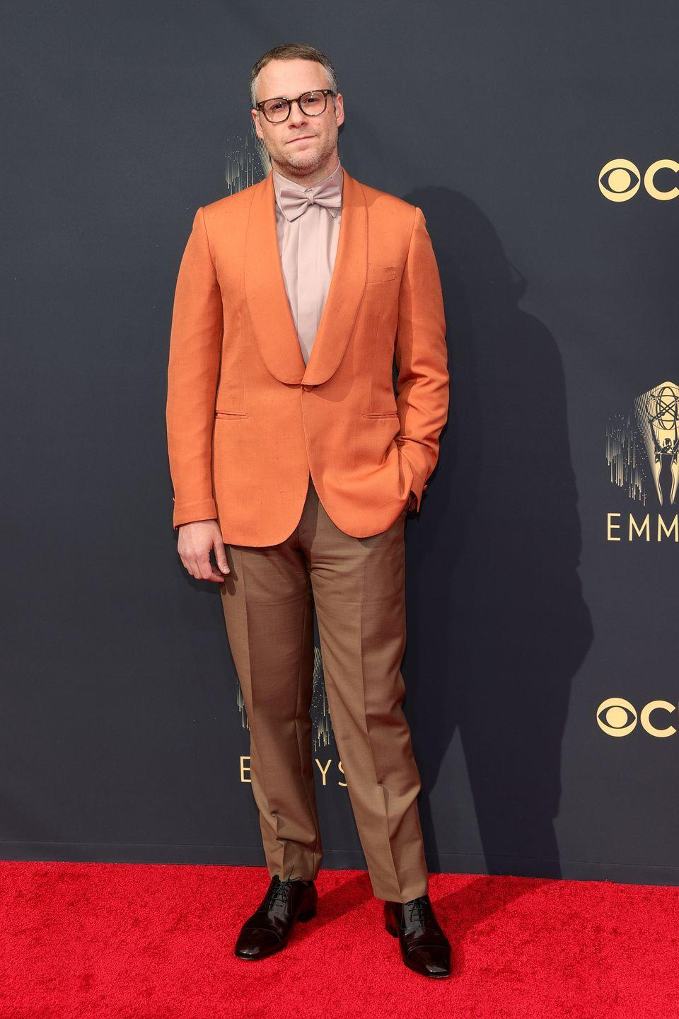 <p>Rogen's looking like a fancy three-scoop sorbet, and even though it's proven a little polarizing online, we're all about it. </p><p><em>In Brioni, Christian Louboutin shoes, and a Montblanc watch.</em></p>