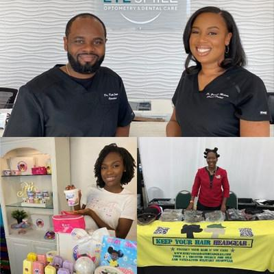 Winners of PenFed Foundation Black History Month Ignition Challenge:  (clockwise from top) Dr. Keith James, OD and Dr. Yvonelle Moreau, DDS from Eye Smile Optometry & Dental Care; Natasha Hinds from Keep Your Hair Headgear; Christianna Alexander from Sweet Christi's.