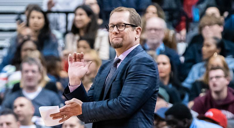 Oct 13, 2019; Toronto, Ontario, CAN; Toronto Raptors head coach Nick Nurse looks on against the Chicago Bulls during the fourth quarter at Scotiabank Arena. Mandatory Credit: Kevin Sousa-USA TODAY Sports