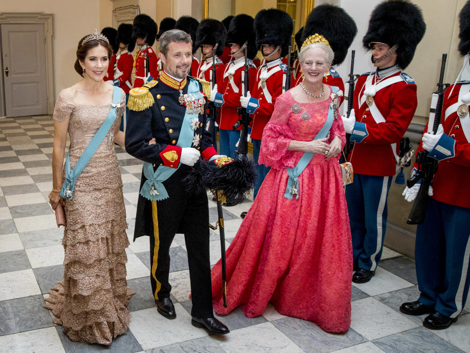 Queen Margrethe of Denmark, Crown Prince Frederik of Denmark and Crown Princess Mary of Denmark during the gala banquet on the occasion of The Crown Prince's 50th birthday at Christiansborg Palace Chapel on May 26, 2018 in Copenhagen, Denmark.