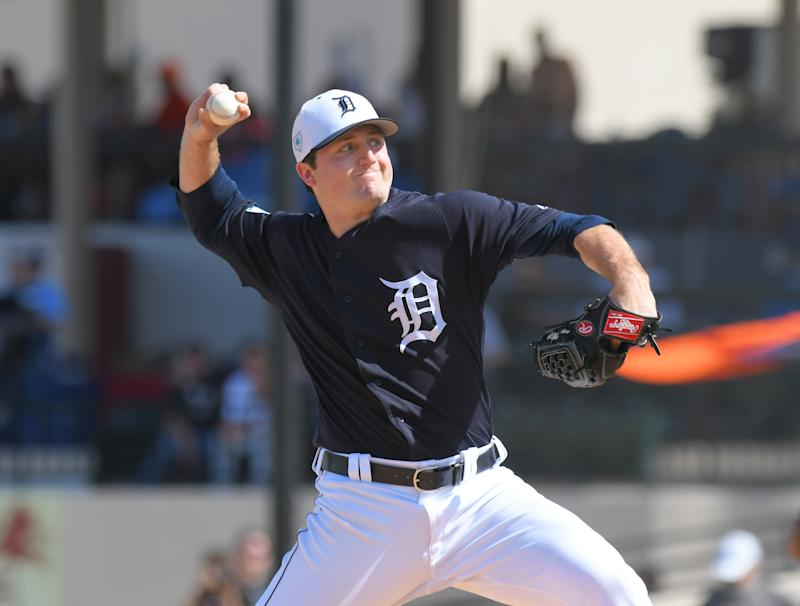 LAKELAND, FL - FEBRUARY 22: Casey Mize #74 of the Detroit Tigers pitches during the Spring Training game against the Southeastern University Fire at Publix Field at Joker Marchant Stadium on February 22, 2019 in Lakeland, Florida. The Tigers defeated the Fire 13-2. (Photo by Mark Cunningham/MLB photos via Getty Images)