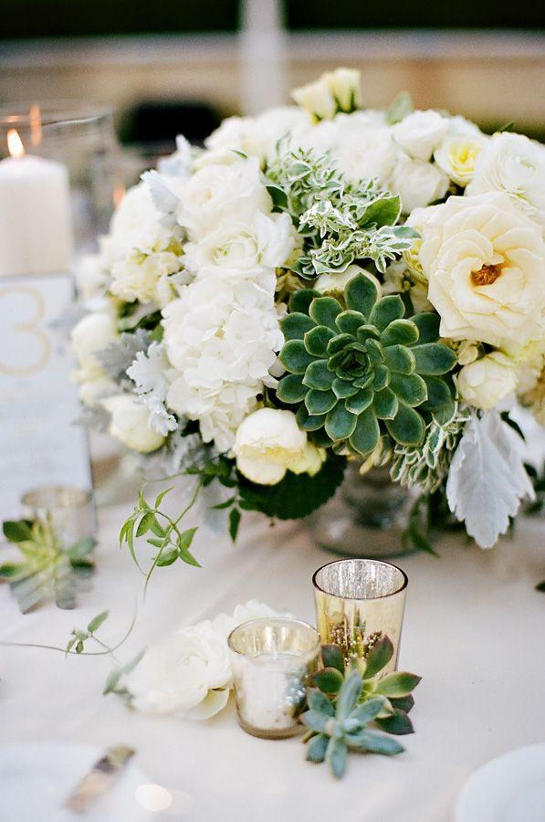 """<p>Adding jade green succulents to an otherwise all-white centerpiece adds color and texture — they'll last forever too!</p><p><em><u><a href=""""http://www.elizabethannedesigns.com/blog/2012/01/02/elegant-yellow-gray-wedding/ivory-rose-and-succulent-centerpiece/"""" rel=""""nofollow noopener"""" target=""""_blank"""" data-ylk=""""slk:Get the tutorial from Elizabeth Anne Designs »"""" class=""""link rapid-noclick-resp"""">Get the tutorial from Elizabeth Anne Designs »</a></u></em> </p>"""
