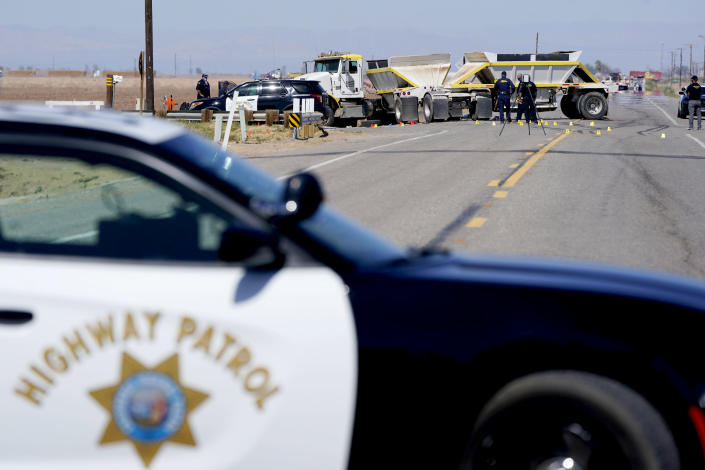 Image: The scene of a deadly crash in Holtville, Calif. (Gregory Bull / AP)