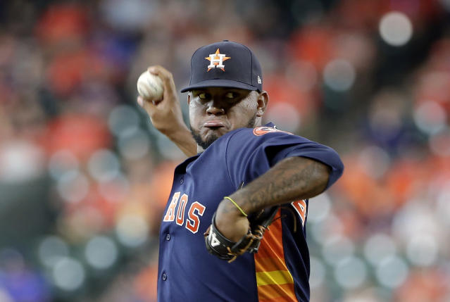 Houston Astros starting pitcher Rogelio Armenteros throws during the first inning of a baseball game against the Texas Rangers, Sunday, July 21, 2019, in Houston. (AP Photo/Michael Wyke)