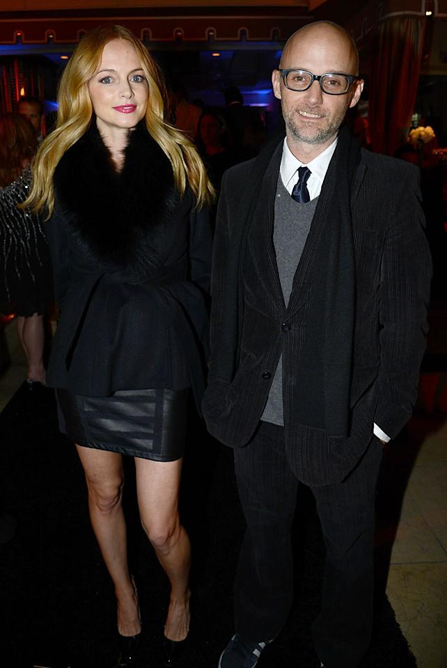 eather Graham and music recording artist Moby attend the Hollywood Domino and Bovet 1822 Gala benefiting Artists For Peace And Justice at Sunset Tower on February 21, 2013 in West Hollywood, California.