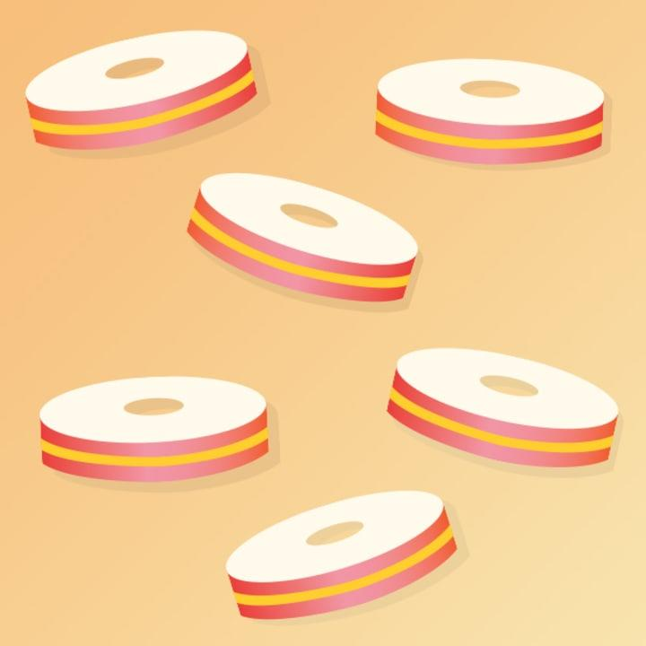Stack cheddar cheese between slices of red apple, and then use a round cookie cutter to make little sandwiches.