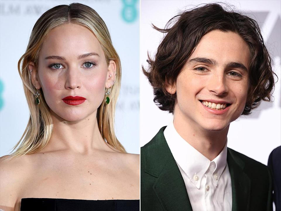 """<p>""""Timothée, I'm waiting for him to get a little bit older, you know?"""" the <i>Red Sparrow</i> actress joked to <a href=""""https://www.etonline.com/jennifer-lawrence-thinks-timothee-chalamet-is-so-so-talented-and-hot-exclusive-96758"""" rel=""""nofollow noopener"""" target=""""_blank"""" data-ylk=""""slk:ET's Carly Steel"""" class=""""link rapid-noclick-resp"""">ET's Carly Steel</a> in 2018. """"[I'm] buttering him up like a pig for slaughter, and then I'm going to swing right in there as soon as he's, like, 30."""" </p> <p>Quickly, she quipped, """"He's old enough to say that, right? He's over 18?"""" Once confirmed, she continued, """"What if I was like, 'He's hot!' and he's 15?'"""" </p> <p>""""I didn't realize he was so young,"""" she said. """"Tell him to wait!... [He's] so, so talented and hot!"""" </p>"""