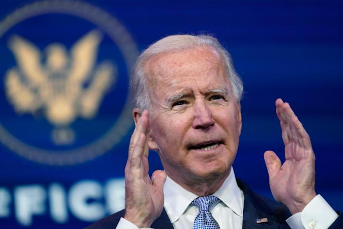 """President-elect Joe Biden calls the violent protests at the U.S. Capitol """"an assault on the most sacred of American undertakings: the doing of the people's business."""""""