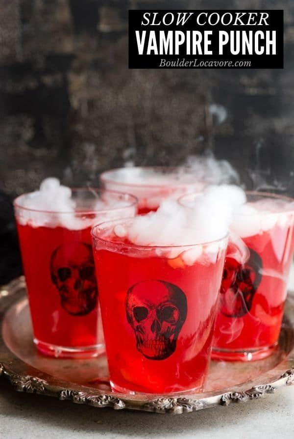 "<p>Combine the ingredients for this blood red punch in a slow cooker and serve warm, or make it ahead and chill and serve during trick-or-treat time.</p><p><strong>Get the recipe at <a href=""https://boulderlocavore.com/slow-cooker-vampire-punch/"" rel=""nofollow noopener"" target=""_blank"" data-ylk=""slk:Boulder Locavore"" class=""link rapid-noclick-resp"">Boulder Locavore</a>.</strong></p>"