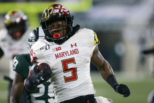 Maryland running back Anthony McFarland Jr. goes for a 63-yard touchdown against Michigan State on Nov. 30, 2019. (Photo by Duane Burleson/Getty Images)