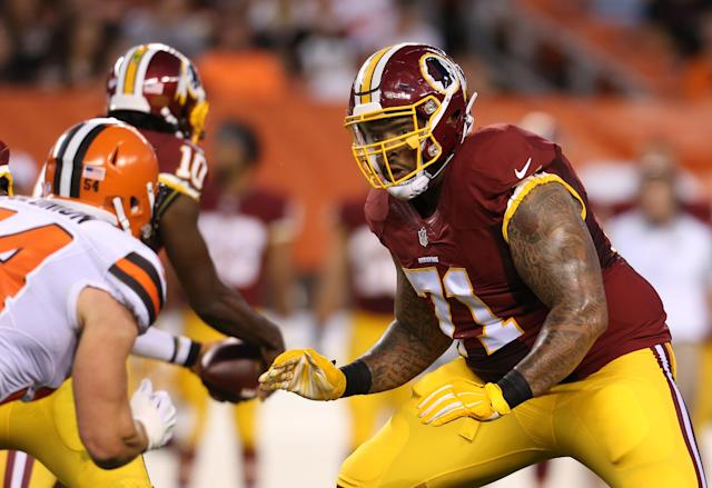 The Washington Redskins traded tackle Trent Williams (71) to the 49ers. (AP Photo/Ron Schwane)