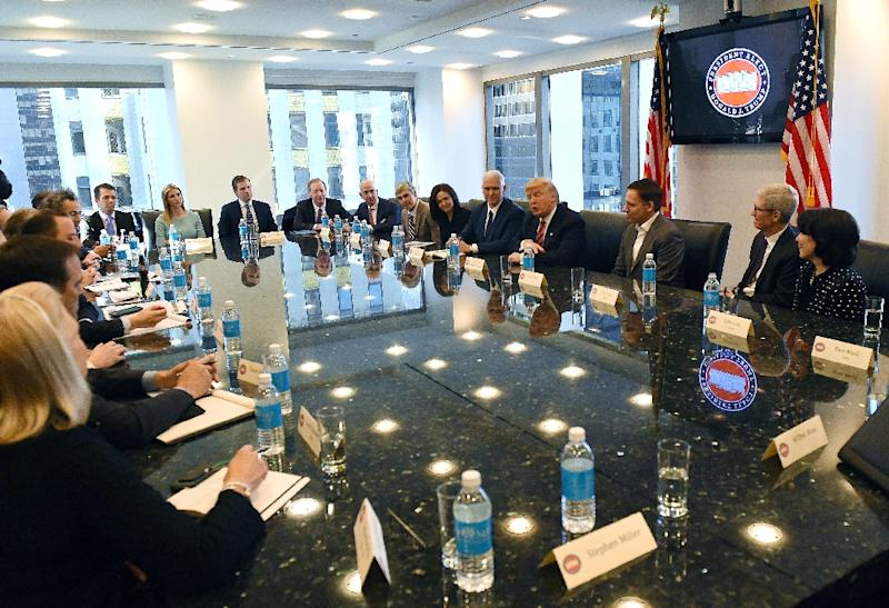 The CEO's of top US tech companies met with Donald Trump when he was president-elect at Trump Tower in December 2016 in New York (AFP Photo/TIMOTHY A. CLARY)