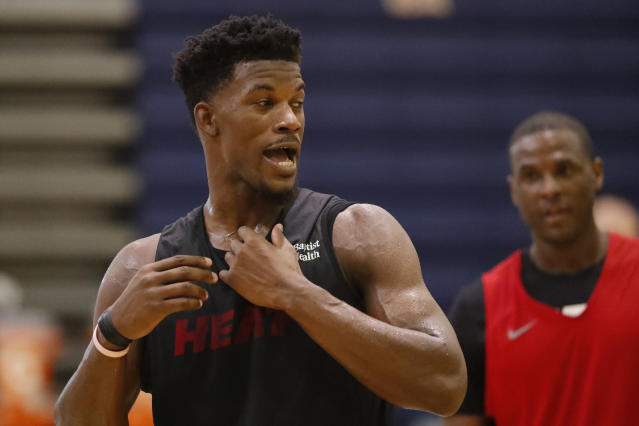 "While most of the United States was sound asleep, and rightfully so, <a class=""link rapid-noclick-resp"" href=""/nba/players/4912/"" data-ylk=""slk:Jimmy Butler"">Jimmy Butler</a> was already in the gym on Tuesday morning in South Florida. (AP/Wilfredo Lee)"