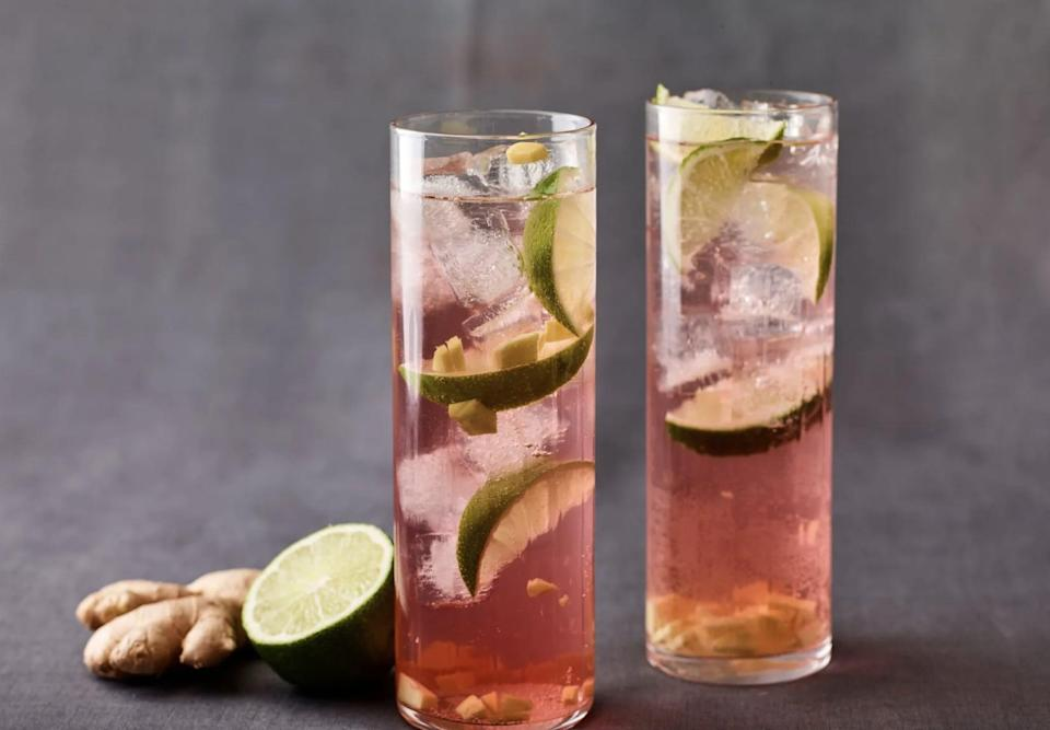 """<p>Take gin and tonics to a place they've never been before when you add umeboshi to the mix. Umeboshi is the vinegar that's leftover after pickling Japanese plums, and it's slightly sweet and briny, meaning it perfectly complements the ginger and lime in this cocktail.</p> <p><strong>Get the recipe</strong>: <a href=""""https://www.popsugar.com/buy?url=https%3A%2F%2Fjamiegeller.com%2Frecipes%2Fginnys-tonic%2F&p_name=umeboshi%20gin%20and%20tonic&retailer=jamiegeller.com&evar1=yum%3Aus&evar9=47471653&evar98=https%3A%2F%2Fwww.popsugar.com%2Ffood%2Fphoto-gallery%2F47471653%2Fimage%2F47474530%2FMissouri-Gin-Tonic&list1=cocktails%2Cdrinks%2Calcohol%2Crecipes&prop13=api&pdata=1"""" class=""""link rapid-noclick-resp"""" rel=""""nofollow noopener"""" target=""""_blank"""" data-ylk=""""slk:umeboshi gin and tonic"""">umeboshi gin and tonic</a></p>"""