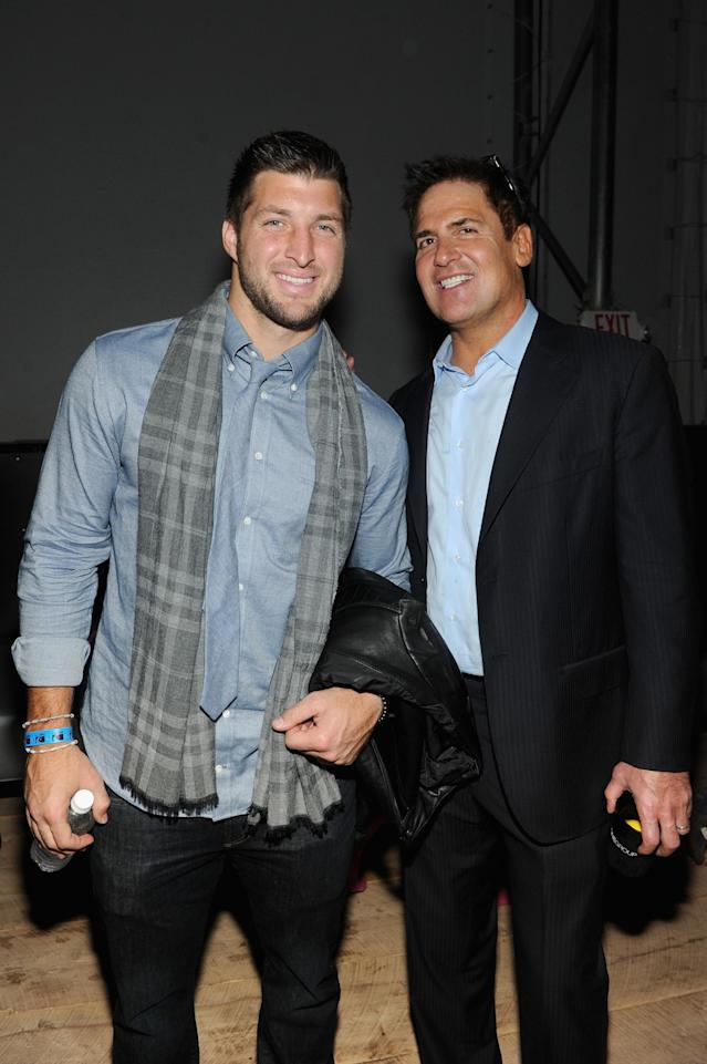 NEW YORK, NY - FEBRUARY 01: Tim Tebow and Mark Cuban attend the DirecTV Super Saturday Night at Pier 40 on February 1, 2014 in New York City. (Photo by Jamie McCarthy/Getty Images for DirecTV)