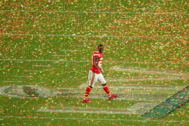 Rashad Fenton celebrates winning the Super Bowl in the same stadium he worked at seven years ago. (Mike Ehrmann/Getty Images)
