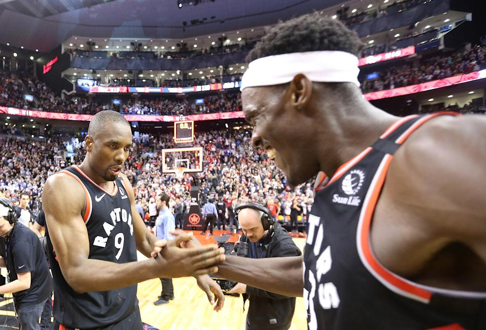 Serge Ibaka and Pascal Siakam have the length and strength to make life uncomfortable for Giannis Antetokounmpo. (Steve Russell/Toronto Star via Getty Images)