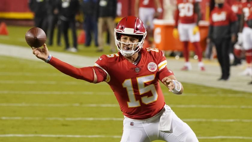 Kansas City Chiefs quarterback Patrick Mahomes plays against the Houston Texans in an NFL football game.
