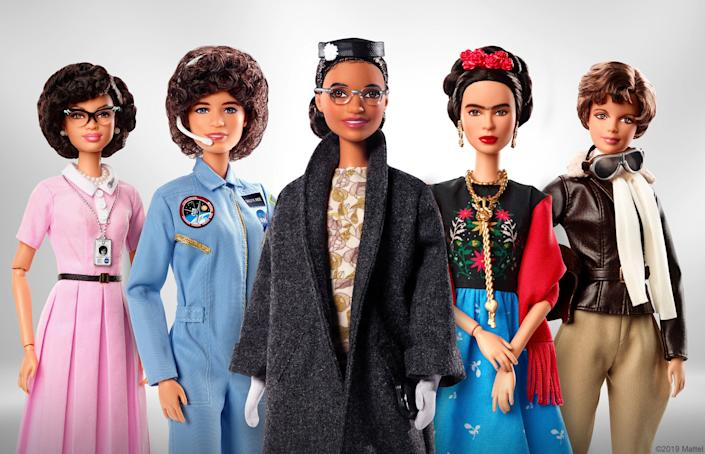 Barbie's Inspiring Women series, which includes (from left to right) Katherine Johnson, Sally Ride, Rosa Parks, Frida Kahlo and Amelia Earhart. (Photo: Barbie)