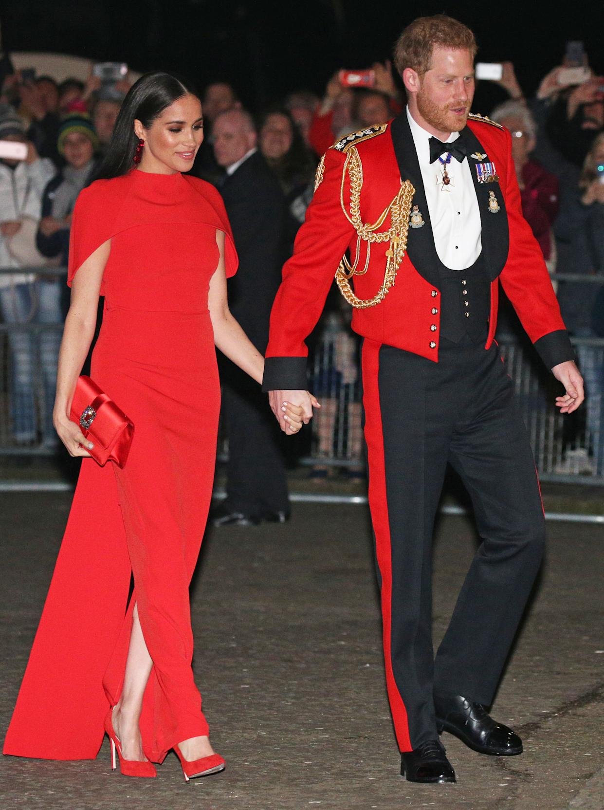 The Duke and Duchess of Sussex arrive at the Royal Albert Hall in London to attend the Mountbatten Festival of Music.