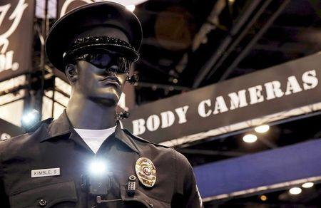 Police body cameras are seen on a mannequin at the International Association of Chiefs of Police conference in Chicago