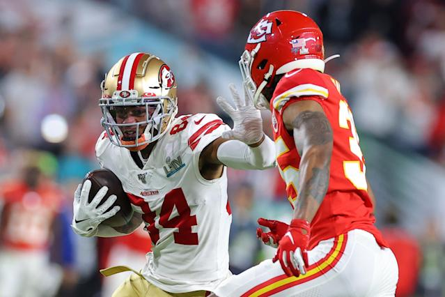 MIAMI, FLORIDA - FEBRUARY 02: Kendrick Bourne #84 of the San Francisco 49ers rushes the ball against Charvarius Ward #35 of the Kansas City Chiefs during the third quarter in Super Bowl LIV at Hard Rock Stadium on February 02, 2020 in Miami, Florida. (Photo by Kevin C. Cox/Getty Images)