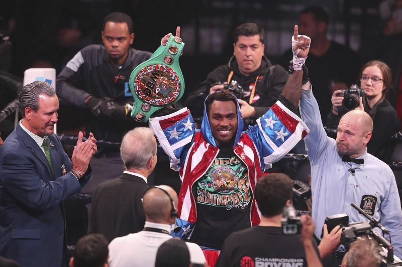 Jermall Charlo celebrates after defending the WBC middleweight boxing title with TKO in seventh round against contender Dennis Hogan, Saturday, Dec. 7, 2019, in Brooklyn. (AP Photo/Vera Nieuwenhuis)