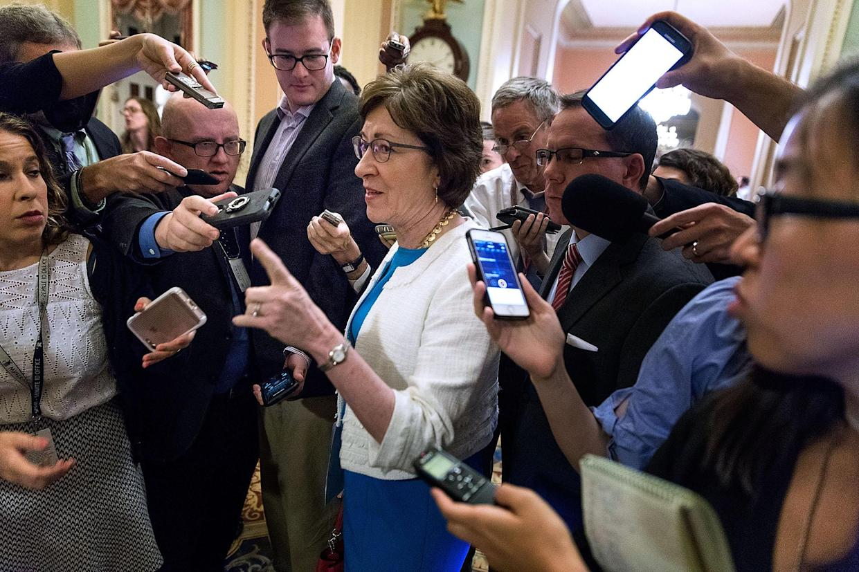 Sen. Susan Collins, R-Maine, talks to reporters following a Republican caucus meeting in the Capitol on July 27. (Photo: Chip Somodevilla/Getty Images)